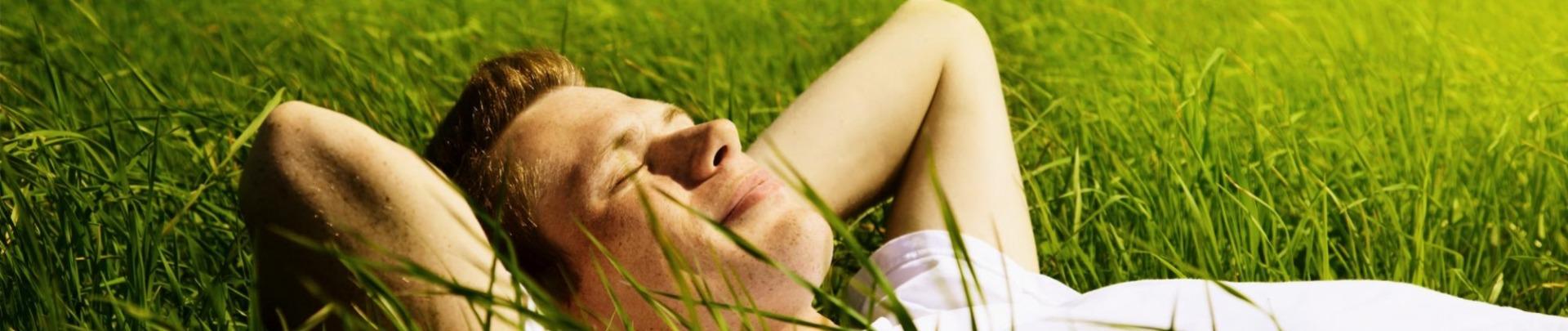Man licht te genieten in het gras